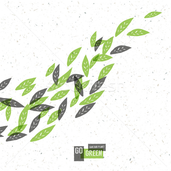 Go Green Concept Poster With Leaves. Vector Stock photo © pashabo