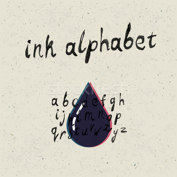 Ink hand-drawn alphabet and paper texture set. Stock photo © pashabo