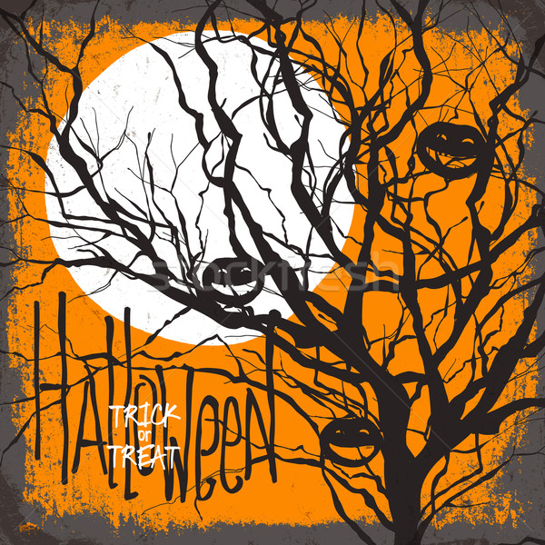 Halloween vector illustration. Dry tree, full moon and pumpkins. Stock photo © pashabo