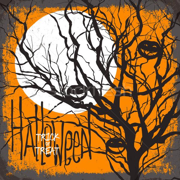 Halloween wyschnięcia drzewo pełnia księżyca sztuczka Zdjęcia stock © pashabo