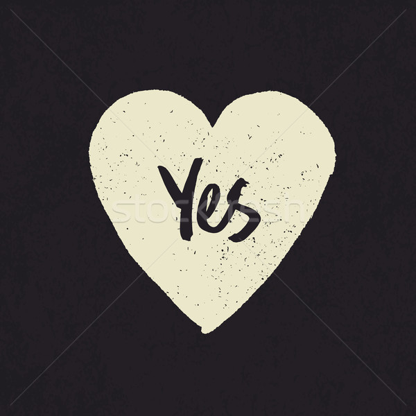 Ja woord hartvorm grunge textuur ontwerp Stockfoto © pashabo