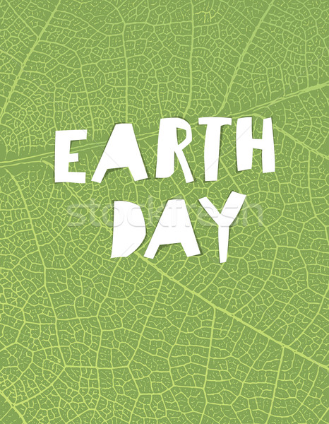 Nature background with 'Earth day' headline. Green leaf veins te Stock photo © pashabo