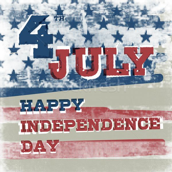 Negyedike amerikai nap poszter halftone Amerika Stock fotó © pashabo