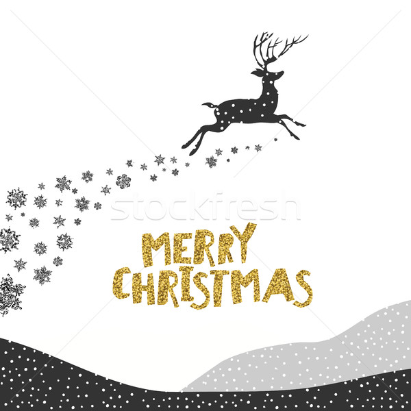 Merry Christmas postcard. Christmas typography glitter gold. Dee Stock photo © pashabo