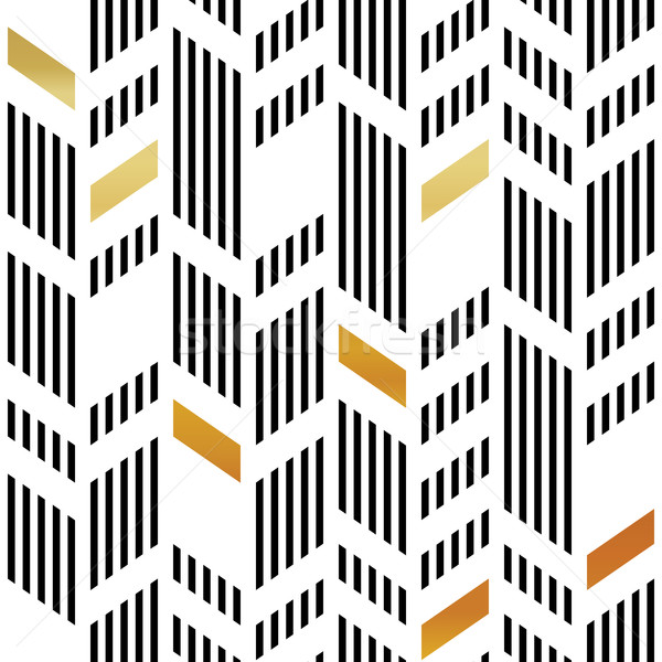 Seamless Gold and Black Chevron Pattern. Art Deco Abstract Backg Stock photo © pashabo