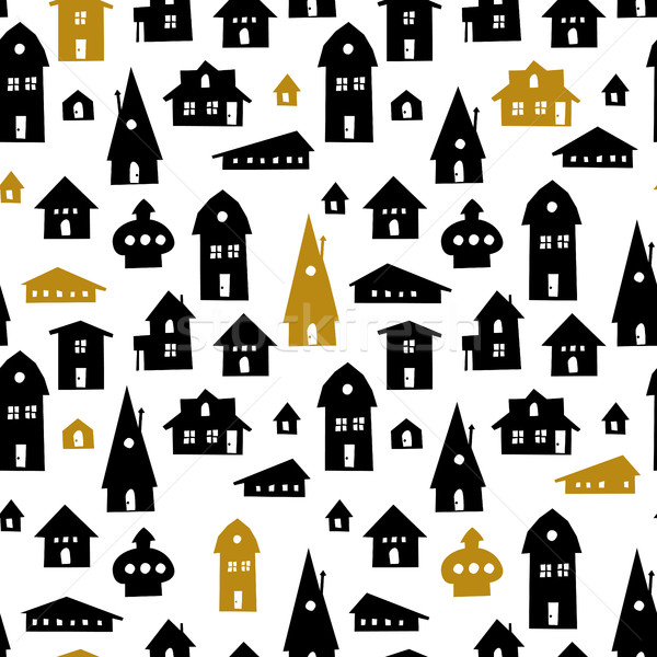 Houses. Seamless pattern. Vector Illustration. Old town backgrou Stock photo © pashabo