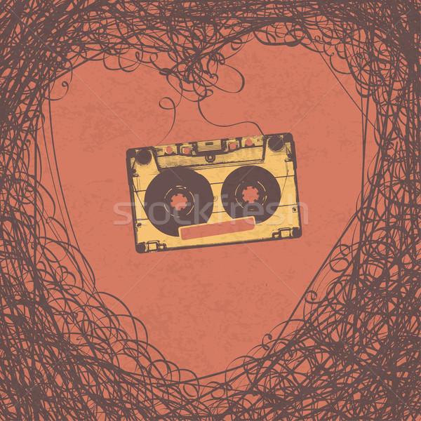 Szerető retro zene poszter terv vektor Stock fotó © pashabo