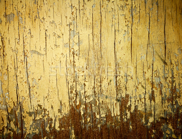 Stock photo: Yellow painted weathered wood texture.