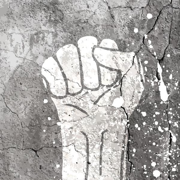 Grunge fist illustration on concrete texture with white splashes Stock photo © pashabo