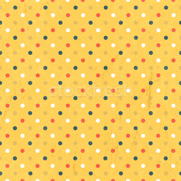 Seamless colorful polka dots pattern with textured layer, vector Stock photo © pashabo