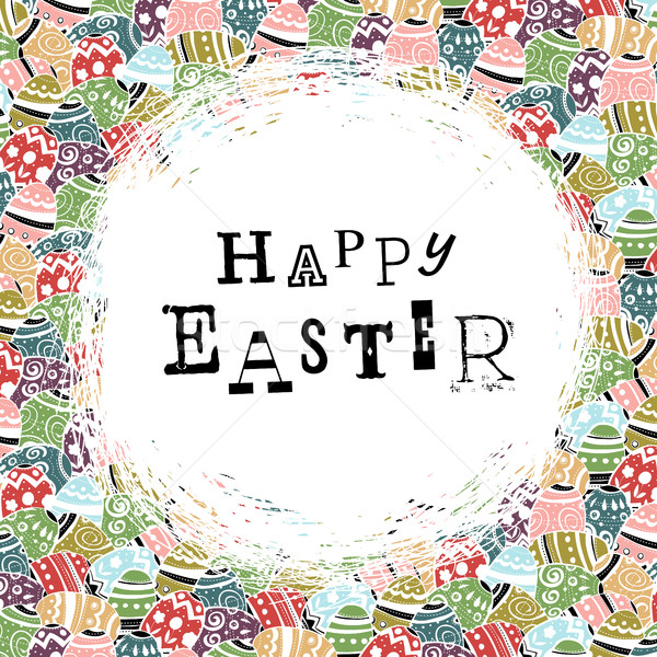 Easter eggs pattern colorful background and 'Happy Easter' greet Stock photo © pashabo