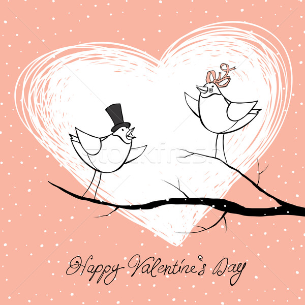 Two lovers birds. Valentine's Day celebration background. Vector Stock photo © pashabo