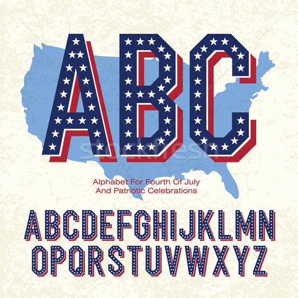 Alphabet For Fourth Of July And Patriotic Celebrations. Vector,  Stock photo © pashabo