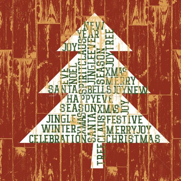 Christmas tree words composition. Vintage styled illustration, E Stock photo © pashabo