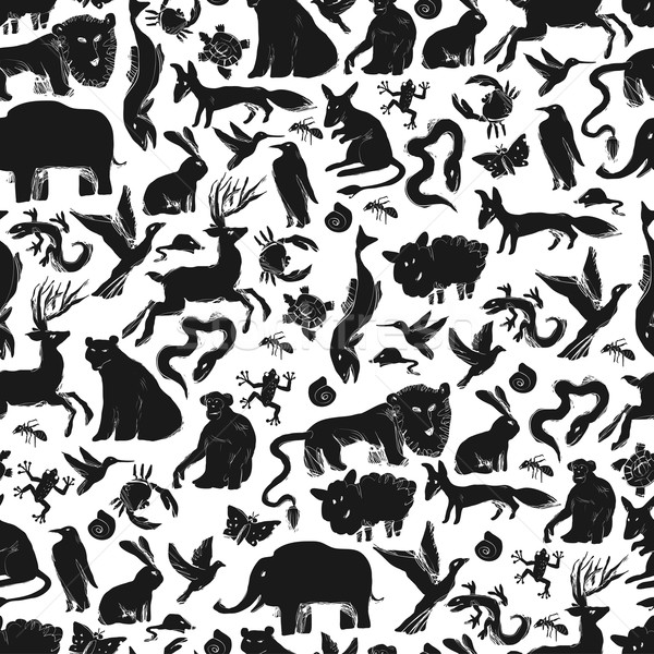 Group of Animals Silhouettes. Zoo Seamless Pattern Stock photo © pashabo