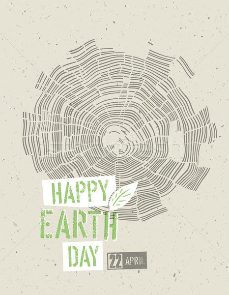 Happy Earth Day Poster. Tree rings symbolic illustration on the  Stock photo © pashabo