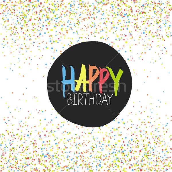 Gelukkige verjaardag groet kleurrijk chaotisch papier textuur Stockfoto © pashabo