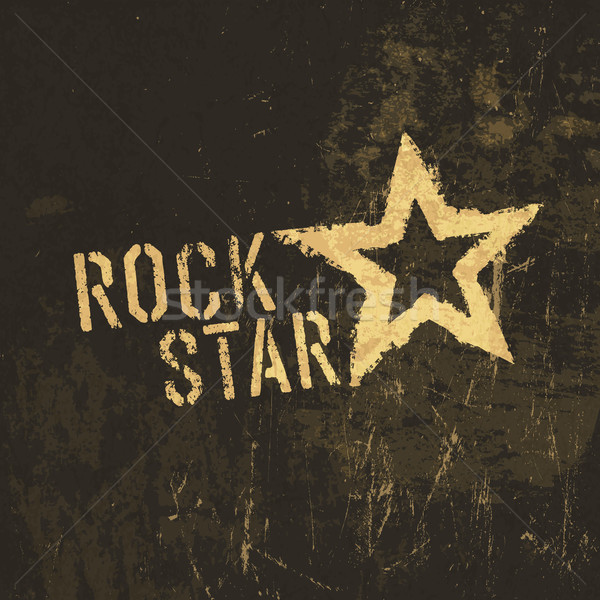 Rock star grunge icon. With stained texture, vector Stock photo © pashabo