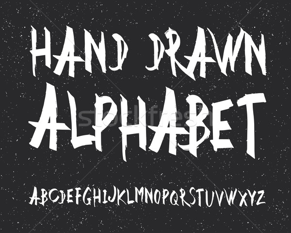 Stock photo: Uppercase alphabet letters. Hand drawn letters. Vector alphabet.