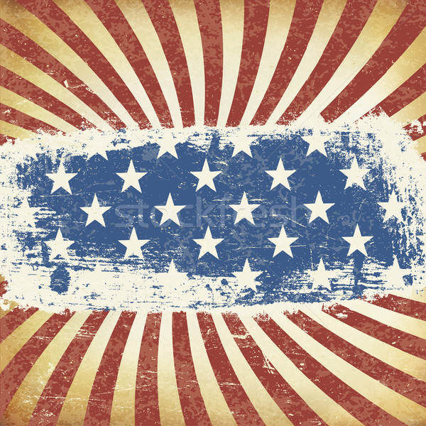 American Themed Flag Background. Grunge Aged Vector Template. Ho Stock photo © pashabo
