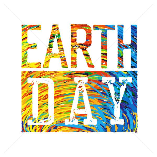 Föld napja színes logotípus terv textúra világ Stock fotó © pashabo