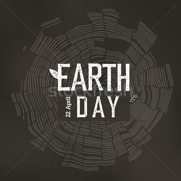 Föld napja poszter fa gyűrűk logo randevú Stock fotó © pashabo