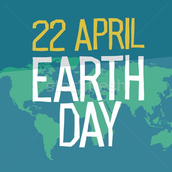 Dzień ziemi plakat projektu stylu 22 wakacje Zdjęcia stock © pashabo