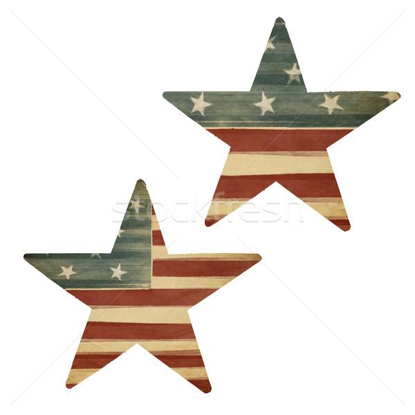 Two stars, American flag themed. Holiday design elements, isolat Stock photo © pashabo