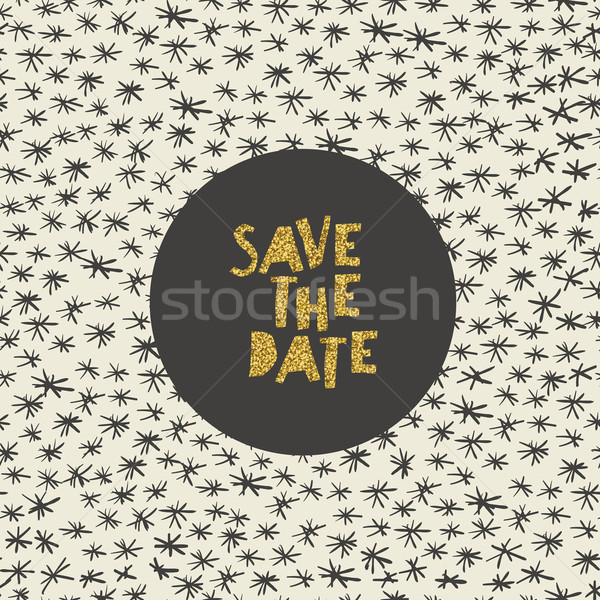 Hand drawn Save the Date card. Gold foil letters effect. Stock photo © pashabo