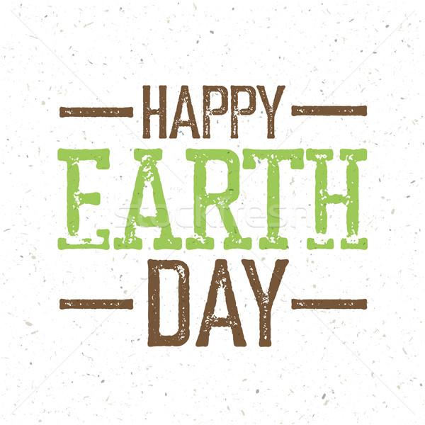 Klasszikus föld napja logo újrahasznosított papír textúra földgömb Stock fotó © pashabo