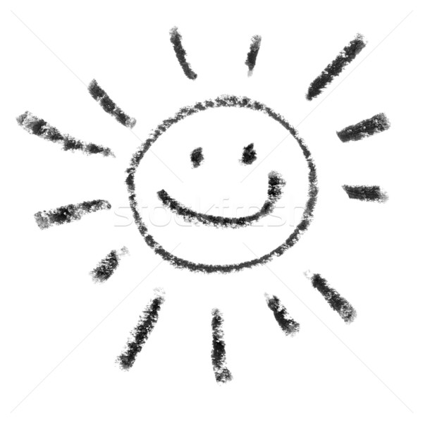 Painted Smiling Sun Symbol Outline. Stock photo © pashabo