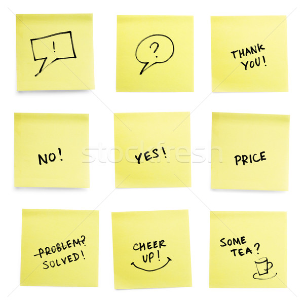 Yellow sticky papers set with some trendy slogans. Stock photo © pashabo