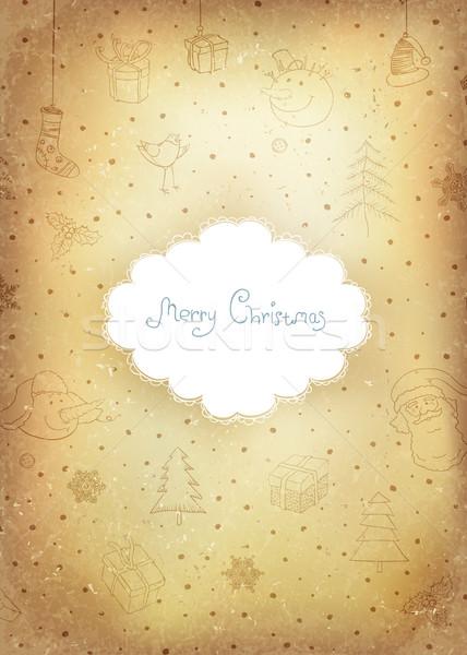 Vintage golden Christmas Greeting card.  Vector illustration, EP Stock photo © pashabo