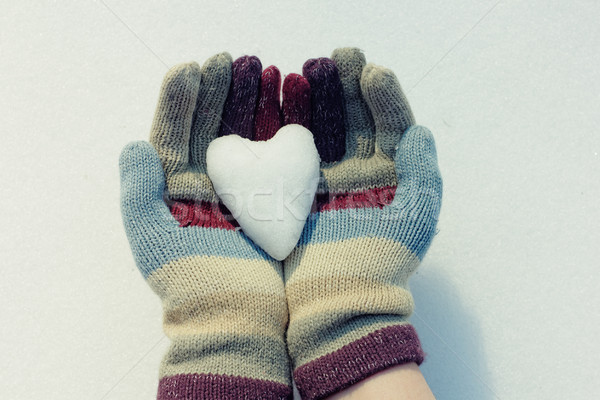 Snow heart in hands. Closeup shot Stock photo © pashabo