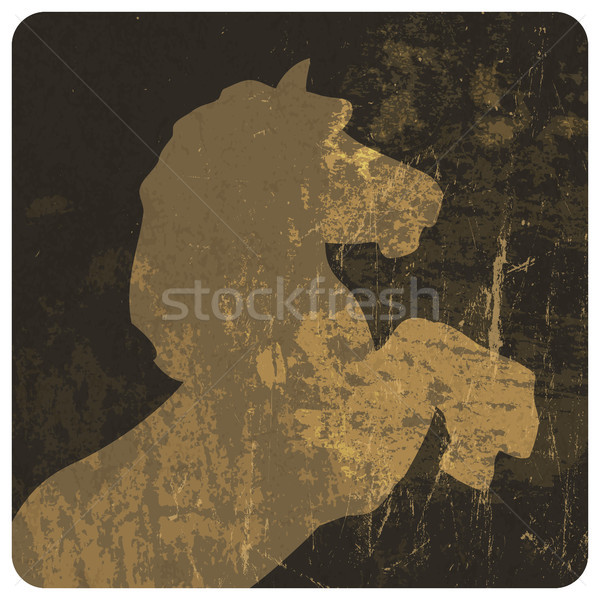 Horse silhouette on grunge texture. Vector, EPS10 Stock photo © pashabo