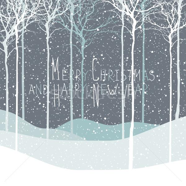 Merry Christmas postcard. Calm winter scene. Vector background w Stock photo © pashabo