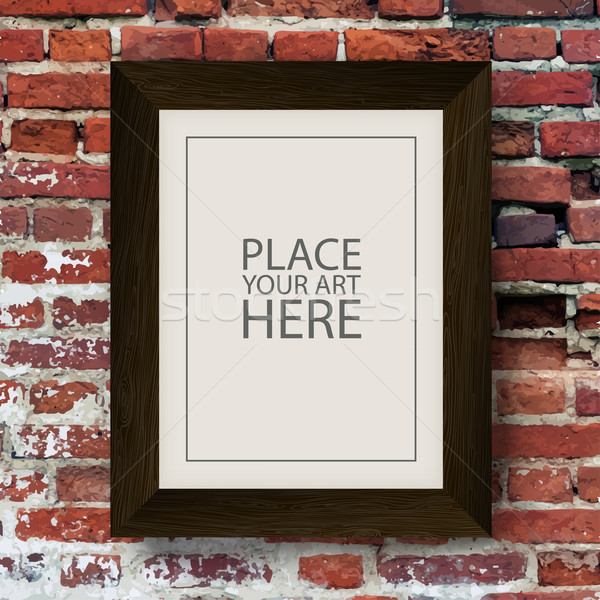 Brown Wooden Frame on Red Brick Wall Stock photo © pashabo