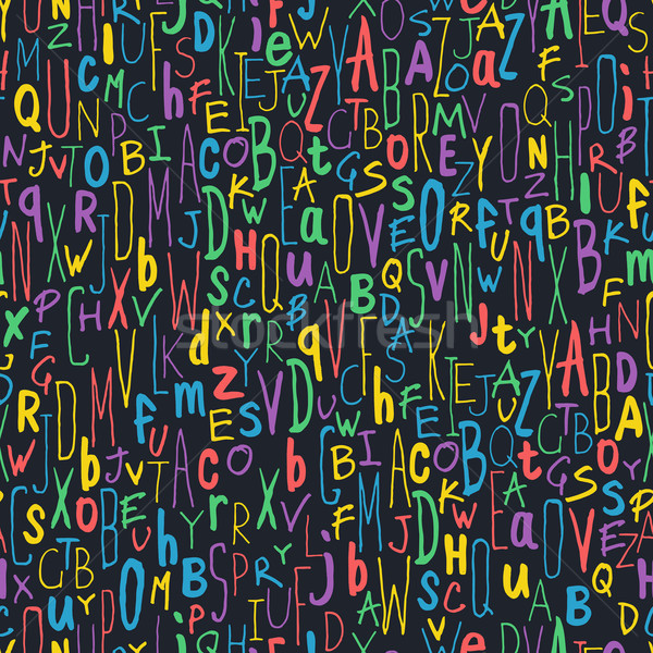Colorful Different Letters on Black. Alphabet Seamless Pattern.  Stock photo © pashabo
