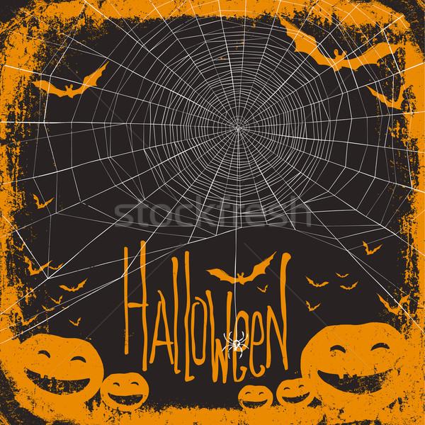 Halloween örümcek ağı ev ağaç arka plan sanat Stok fotoğraf © pashabo