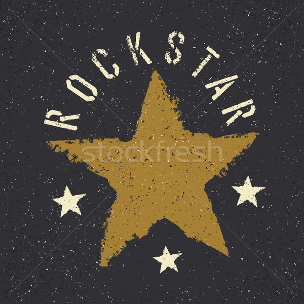 Rockstar. Grunge star with lettering. Tee print design template Stock photo © pashabo
