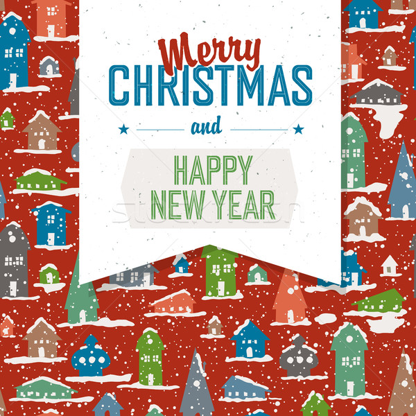 Merry Christmas VIntage Tag Design On Planks. Vector Stock photo © pashabo