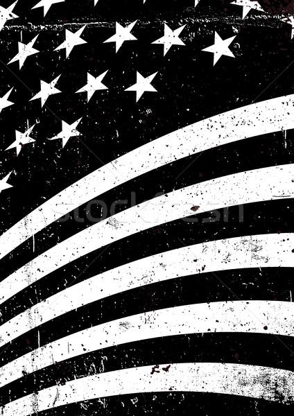 Feketefehér grunge Amerika hullámos zászló absztrakt Stock fotó © pashabo