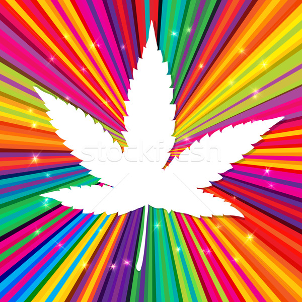 Cannabis leaf on abstract psychedelic background, vector, EPS10 Stock photo © pashabo