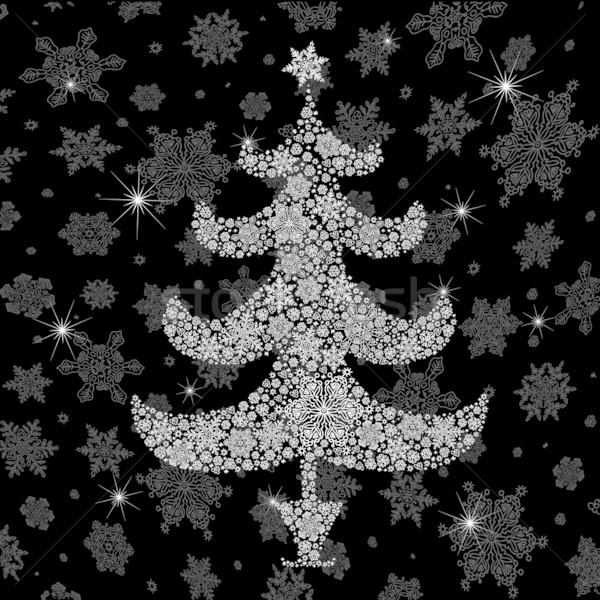 Christmas tree silhouette. Vector illustration, EPS8 Stock photo © pashabo