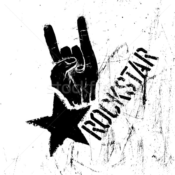 Rockstar symbol with sign of the horns gesture. Vector template  Stock photo © pashabo
