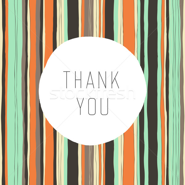 Thank you card, vector. Retro colors stripes pattern Stock photo © pashabo