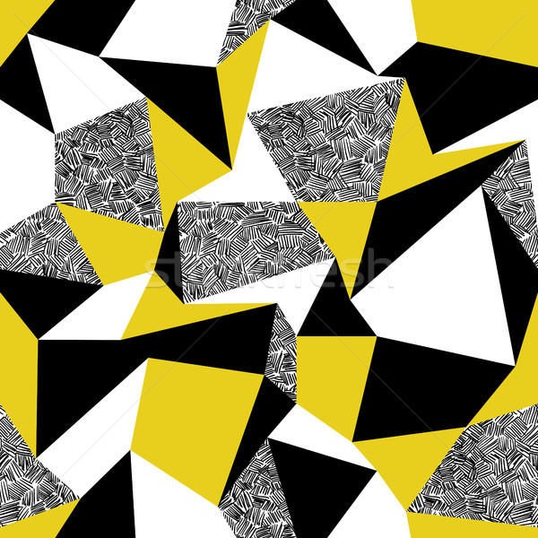 Yellow triangles. Geometric seamless pattern in retro style. Vin Stock photo © pashabo