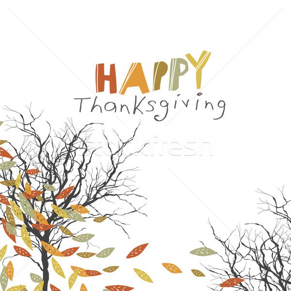 Сток-фото: счастливым · благодарение · дизайна · логотип · деревья