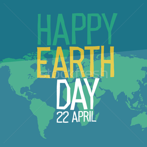 Earth day poster design in flat style. 22 April holiday card. Si Stock photo © pashabo