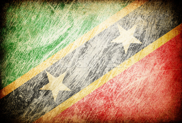 Grunge rubbed flag series of backgrounds. Saint Kitts and Nevis. Stock photo © pashabo